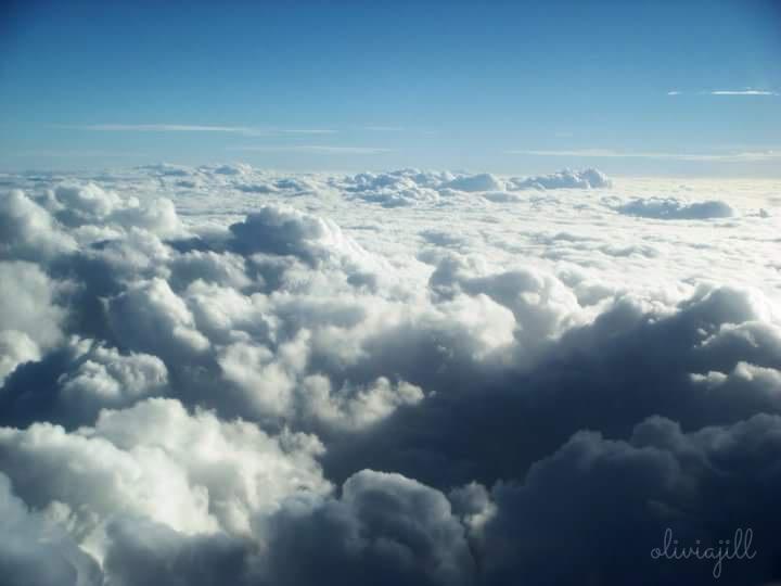 clouds, sky, cottony clouds, horizon, blue sky, white sky, airplane window view