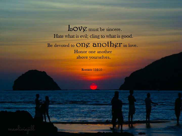 romans 12:9-10, acceptable worship, sunset, beach, mountains, people, Philippines, Anawangin Cove, Zambales
